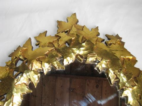 retro gold frame mirror w/ autumn leaves maple leaf border, vintage Syroco tag