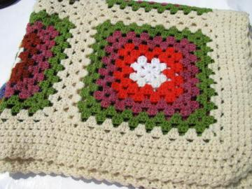 retro granny squares vintage crocheted bedspread, large afghan