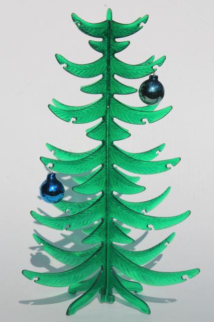 Retro Green Lucite Plastic Tabletop Tree Vintage Christmas