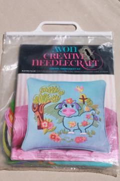 retro hippie vintage crewel embroidery kit, daisy cow w/ flowers to embroider