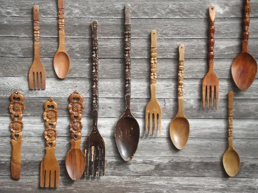 Fork And Spoon Wall Art retro kitchen wall art, big carved wooden forks & spoons, 60s 70s
