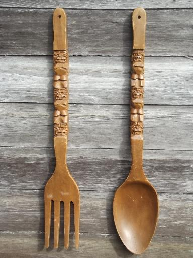 Retro Kitchen Wall Art, Big Carved Wooden Forks U0026 Spoons, 60s 70s Vintage  Tiki Wood