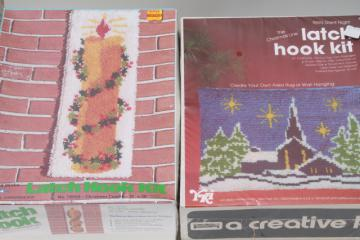 retro latch hook rug wall hanging kits, complete sealed kit lot Christmas designs