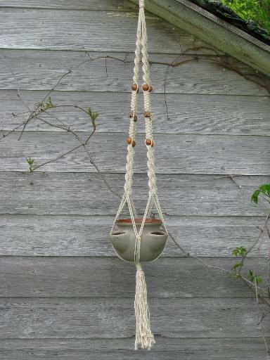 Retro Macrame Plant Hanger And Pottery Strawberry Pot For