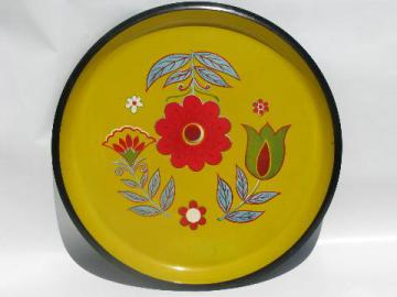 retro melamine plastic serving tray, round w/ folk art bright flowers