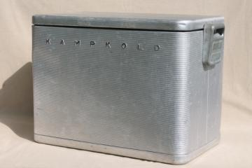 retro mid-century vintage all metal cooler, Kampkold Kooler ice chest for camping or travel