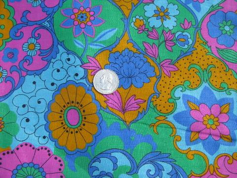 Retro Mod 60s Vintage Print Fabric Lot Op Art Flowers