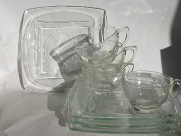 retro mod square glass snack sets, 50s - 60s mid-century modern