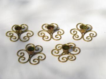retro mod vintage flower shape brass scrollwork candle holders, Norway