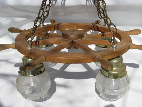 retro nautical ship s wheel hanging light lamp 1950s vintage