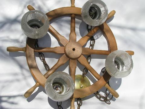 retro nautical ship's wheel hanging light lamp, 1950s vintage