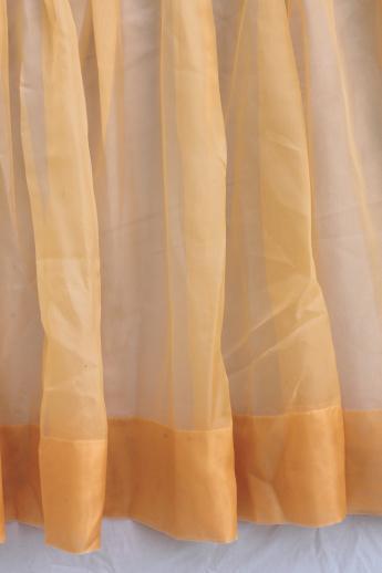 Retro Orange Curtains 60s Vintage Sheer Voile Window