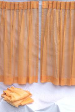 retro orange curtains, 60s vintage sheer voile window curtain panels set