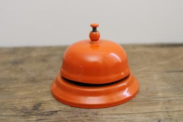 retro orange metal desk bell, vintage store counter service bell, push bell