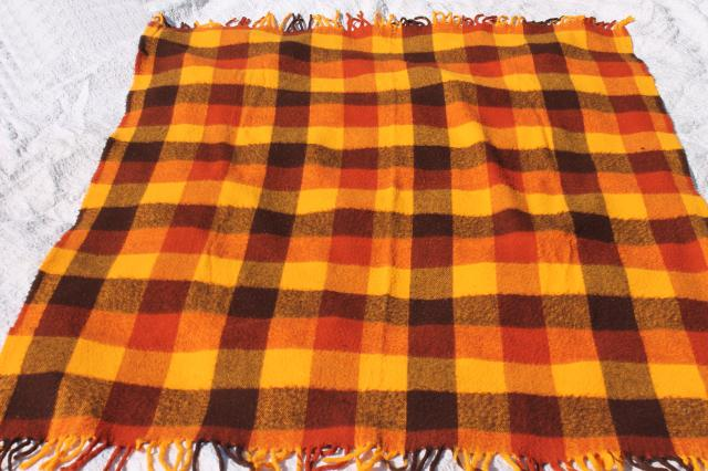 retro orange yellow gold plaid stadium blanket, picnic or camp blanket vintage Faribo label