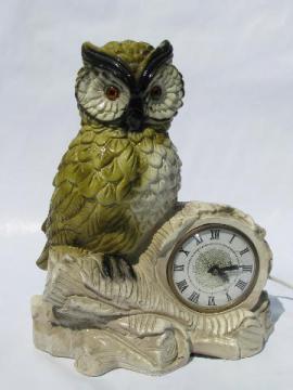 retro owls, vintage figural desk or table clock, Lanshire electric movement