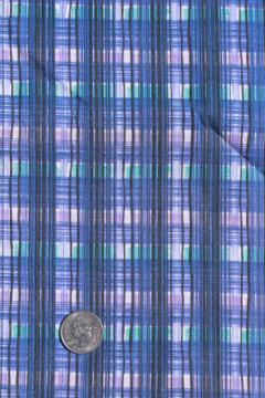 retro plaid print cotton fabric - navy blue, purple, aqua green - 60s vintage