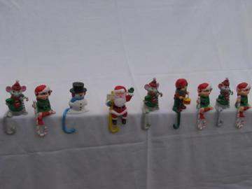 retro plastic Santa, elves, Christmas figures shelf sitter stocking hooks