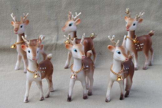 Retro Plastic Reindeer Christmas Decorations Vintage Hong Kong Baby Deer W Bells