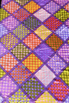 retro polyester tricot knit silky fabric, disco vintage groovy checkerboard squares print