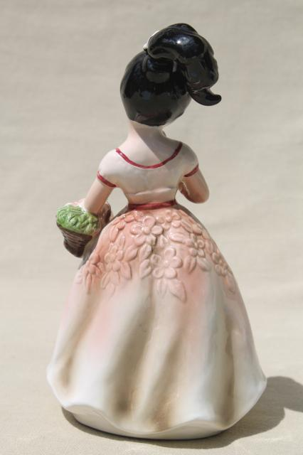Retro Ponytail Girl China Figurine Hand Painted Ceramic