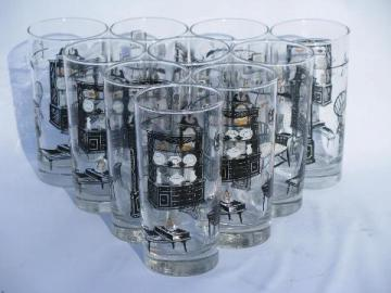 retro print glass tumblers, set of 10 vintage Early American glasses