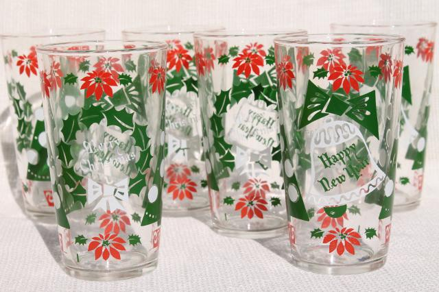 retro print vintage glass tumblers for the holidays merry christmas happy new year drinking glasses