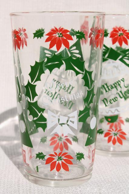 retro print vintage glass tumblers for the holidays, Merry Christmas Happy New Year drinking glasses