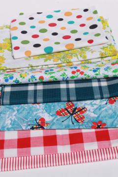 retro prints, stripes, plaid fabrics, lot of vintage cotton & cotton blend fabric