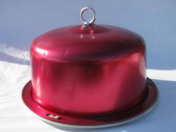 retro red 1950s vintage anodized colored aluminum cake cover / potluck carrier