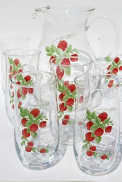 retro red raspberry iced tea or lemonade set, glass pitcher & drinking glasses