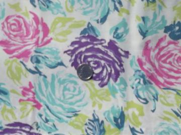 retro roses print cotton broadcloth fabric, 50s 60s vintage colors