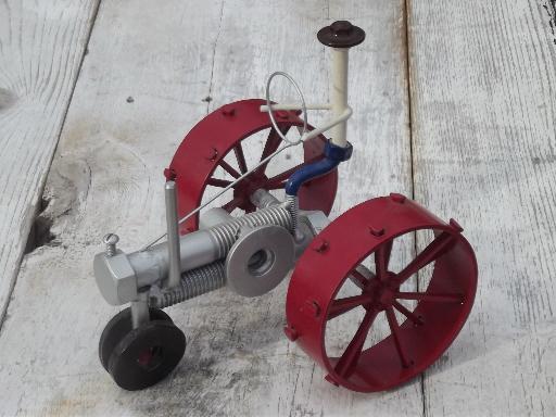 Metal Art Tractor : Retro steampunk garden art farm tractor all made from