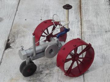retro steampunk garden art, farm tractor all made from metal hardware