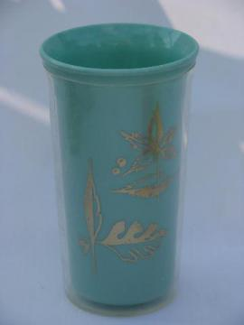retro thermoware type insulated plastic picnic tumblers, 1960s vintage sherbet colors
