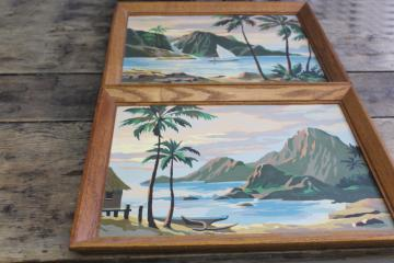 retro tiki style tropical island beach paintings, vintage paint by number pictures