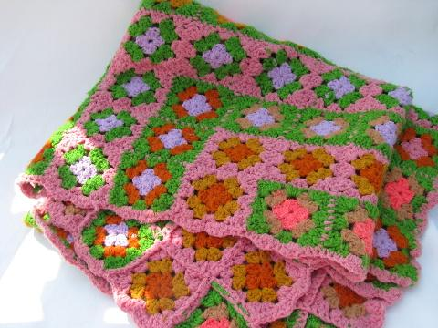 Crochet Granny Square Rug Patterns : retro vintage 60s pink / green granny squares crochet ...