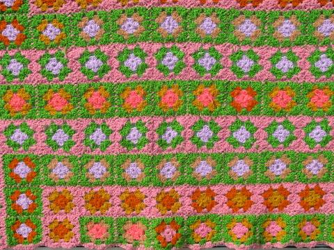 retro vintage 60s pink / green granny squares crochet throw rug
