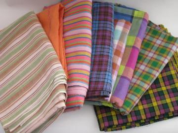 retro vintage 60s-70s cotton and blend plaid and striped fabric lot