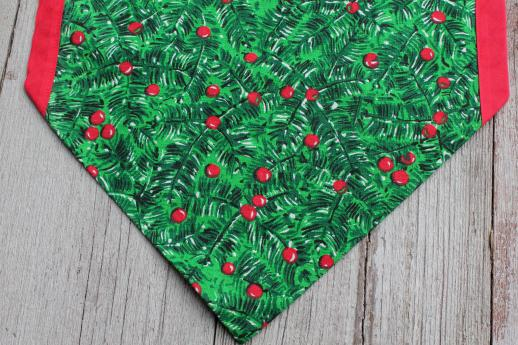 retro vintage Christmas table runners, red & green holly print holiday fabric