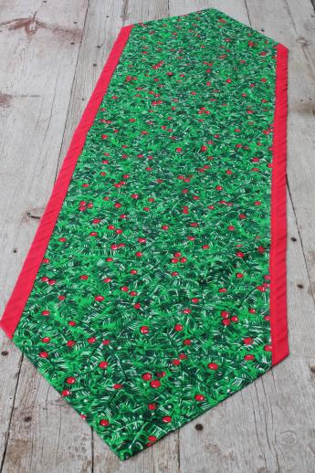 Retro Vintage Christmas Table Runners Red Amp Green Holly