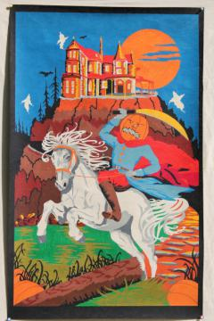 retro vintage Halloween paint by number art poster wall hanging, Headless Horseman