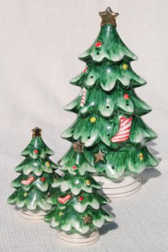 retro vintage Lefton Christmas tree buffet set, toothpick hors d'ouves holder and S&P shakers