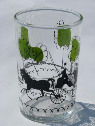 Retro Vintage Libbey Juice Glasses Horse And Carriage Scene