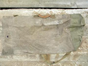 retro vintage US Army olive drab canvas duffle bag/knapsack/backpack