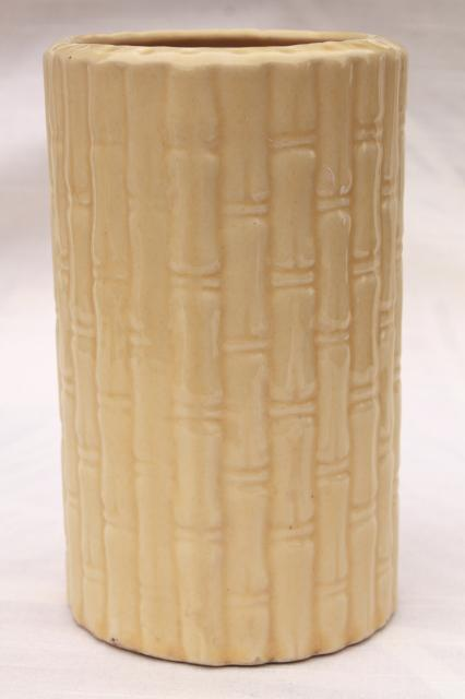 retro vintage USA pottery cylinder vase w/ tall bamboo, pale creamy yellow glaze
