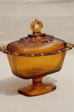 retro vintage amber glass candy dish, Indiana glass open lace edge wedding box