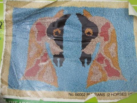 retro vintage angel cloth printed hooked rug canvas, primitive horses design