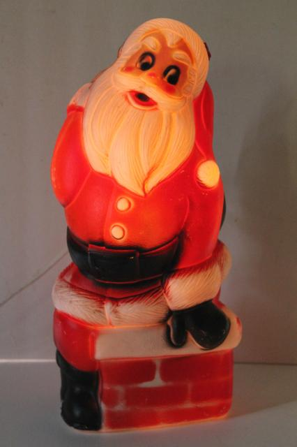 retro vintage blow mold plastic santa chimney light up christmas decoration