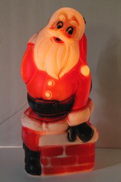 retro vintage blow mold plastic Santa chimney light up Christmas decoration